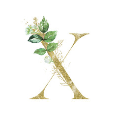 Wall Mural - Gold Floral Alphabet - letter X with botanic branch bouquet composition. Unique collection for wedding invites decoration & other concept ideas.