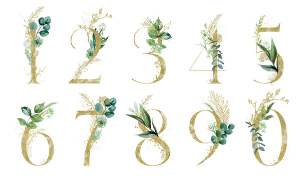 Gold Floral Number Set - digits 1, 2, 3, 4, 5, 6, 7, 8, 9, 0 with green botanic branch bouquet composition. Unique collection for wedding invites decoration & other concept ideas.