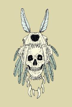 Prehistorical human with Smilodon Skull