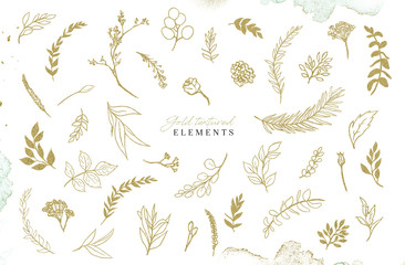 Watercolour gold floral illustration set. DIY flower elements collection - perfect for flower bouquets, wreaths, arrangements, wedding invitations, anniversary, birthday, postcards, greetings, logo.