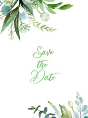 Wall Mural - Watercolor floral illustration - leaf frame / border, for wedding stationary, greetings, wallpapers, fashion, background. Eucalyptus, olive, green leaves, etc.