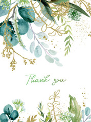 Wall Mural - Watercolor floral illustration with gold branches - leaf frame / border, for wedding stationary, greetings, wallpapers, fashion, background. Eucalyptus, olive, green leaves, etc.