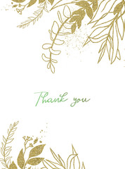 Wall Mural - Watercolor floral illustration with gold branches - leaf frame / border, for wedding stationary, greetings, wallpapers, fashion, background. Eucalyptus, olive, leaves, etc.