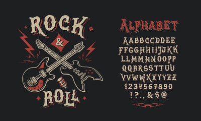 Font Rock & Roll. Hand crafted retro vintage typeface design. Handmade  lettering. Authentic handwritten graphic alphabet. Vector illustration old badge label logo template.