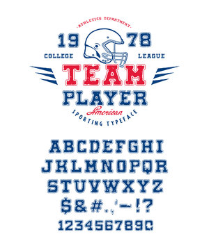Font Team Player. Crafted retro vintage typeface design. Sport type on black background. Athletic graphic alphabet with contour in the style of college. Vector illustration old label logo template.