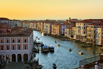 Fototapete - Beautiful aerial view over the Grand Canal at sunset, Venice, Italy