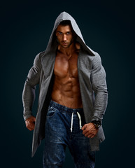 Athletic Men in Hooded Jacket