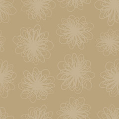 Earth tone subtle flower texture seamless vector background. Repeating pattern of abstract florals in brown hues. Foliage backdrop for fabric, page fill, web backgrounds, home decor, surface design