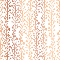 Rose Gold foil nature background. Seamless vector pattern of abstract plants in metallic copper. Branches and leaves growing in vertical direction. Elegant foliage texture for web banner, invite