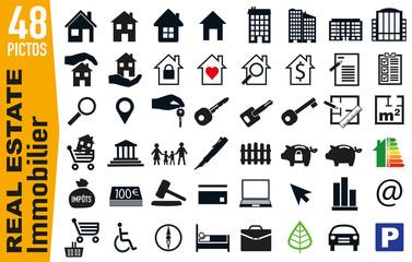 Ensemble de pictogrammes pour illustrer le thème du logement et de l'immobilier, regroupant sur une planche des icônes pour la publicité et le web.