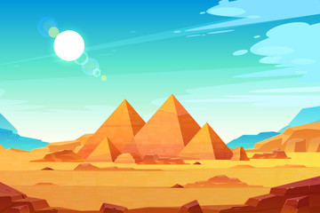 Fotobehang Lichtblauw Giza plateau landscape with egyptian pharaohs pyramids complex illuminated with bright sunlight cartoon vector background. Ancient historical, famous touristic attractions in african desert