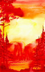 Watercolor illustration of a beautiful bright red summer forest landscape