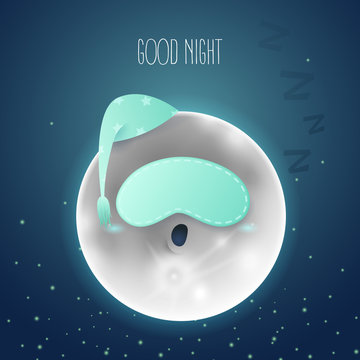 Vector cartoon illustration. A sleeping moon in the sky. Dark blue background with text Good night.