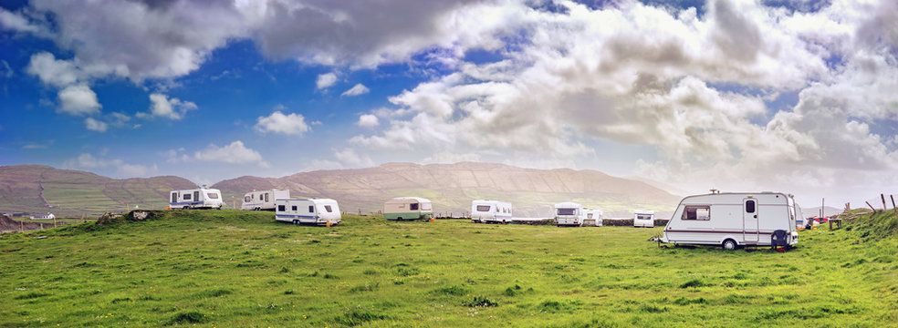 Panoramic view with campers in a  resort