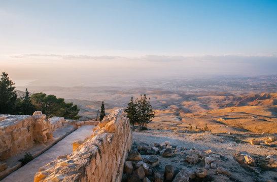 The Mount Nebo in Jordan on sunset