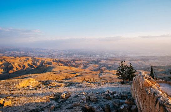 The Mount Nebo near Amman in Jordan on sunset