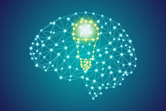 yellow led light bulb sign in polygonal low poly plexus blue human head brain, smart business innovation idea thinking concept, stock vector illustration clip art