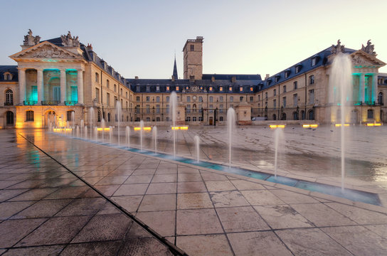View of the Palace of the Dukes of Burgundy from Liberty Square. City of Dijon. France. In the foreground there is a fountain.