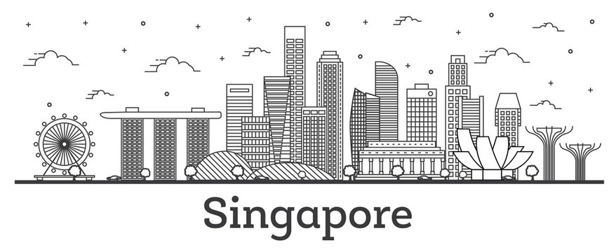 Outline Singapore City Skyline with Modern Buildings Isolated on White.