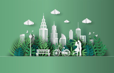 Paper art and craft style of cute couple in love hugging, eco green city, save the planet and energy concept, flat-style vector illustration. Wall mural