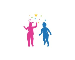 Funny kids logo template