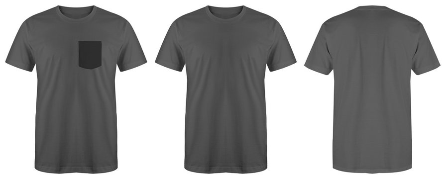 Blank t shirt bundle grey color isolated on white background, ready for your mock up design template
