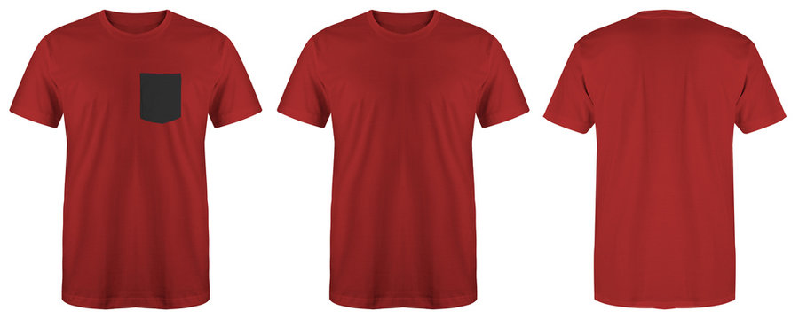 Blank t shirt maroon color isolated on white background, ready for mock up template