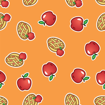 Apple pie pattern background. Sweet and tasty baked fruit pie from red apples seamless pattern.