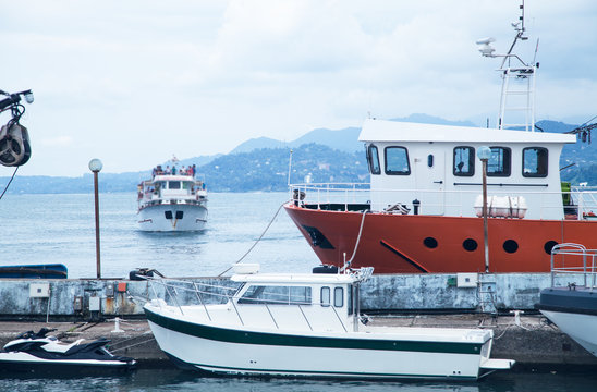 Beautiful view. Batumi, Georgia 2018. Boats with sea