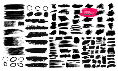 Set of black brush strokes, paint, ink, grunge, brushes, lines. Dirty artistic elements, boxes, frames. Freehand drawing. Vector illustration. Isolated on white background_q