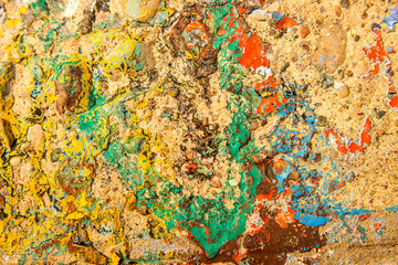 wall of concrete with remains of color