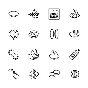 Simple icon set vision, eyesight, ophthalmology and eyes care concept. Contains such symbols contact lenses, vision diagnostics, eye drops and other.