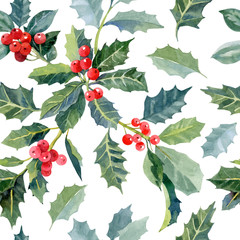 Seamless pattern with watercolor christmas holly and red berries