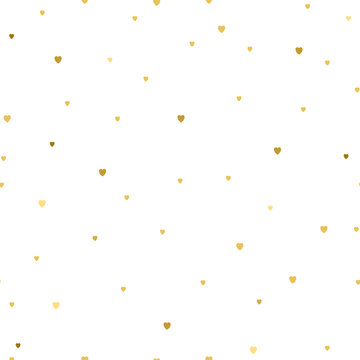 Vector Background with small gold hearts on white background. Fashion style. Design backdrop for Textile, wallpaper, scrapbooking, wedding invitation card.