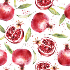 Watercolor pomegranate seamless pattern. Summer wallpaper design
