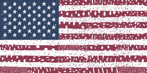 American USA flag with grunge texture Vector illustration