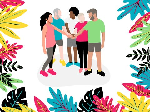Coworkers hold hands between collaboration and colleagues before starting work to brainstorming, strengthen relationships and unite