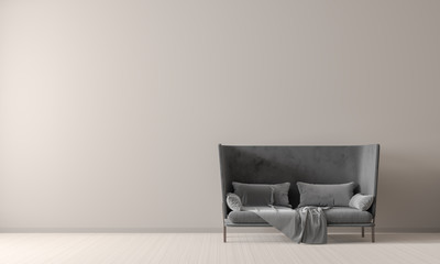 Empty wall mock up in Scandinavian style interior with sofa. Minimalist interior design. 3D illustration.