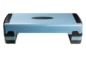 blue aerobic step for training, board for fitness, with adjustable height, sports equipment, on a white background, isolate