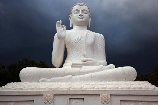 Buddha statue, Seated Buddha, stormy atmosphere, Mihintale, North Central Province, Sri Lanka, Asia