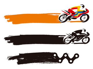 Motorcycle Racer grunge background. Grunge style expressive illustration of Motorcycle Racer with brush stroke. Place for your text. Vector available.