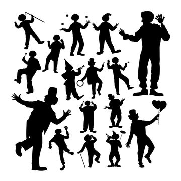 Clown attraction silhouettes. Good use for symbol, logo, web icon,  mascot, sign, or any design you want.