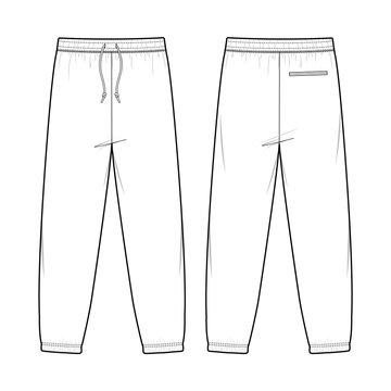 SWEAT PANTS fashion flat sketch template