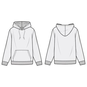 HOODIE fashion flat sketch template