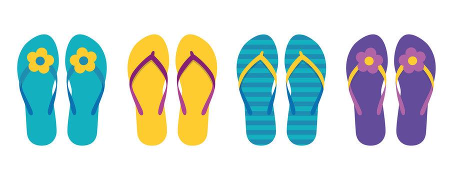 set of colorful flip flops summer collection swim wear with flower vector illustration EPS10