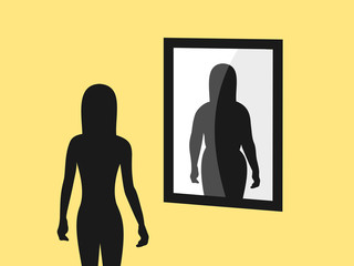 Anorexia and negative body image - skinny person is seeing false image in the mirror. Illusion of being overweight and obese. Vector illustration