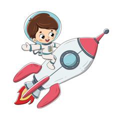 Niño sentado en un cohete volando por el espacio
