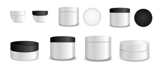 Set of White plastic tube with black and white round caps. Vector packaging mock up template. Mock up collection for your design