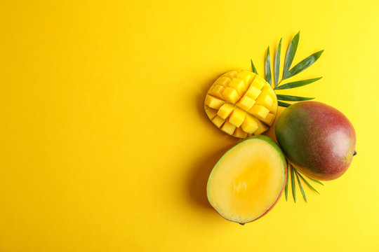 Cut ripe mangoes and space for text on color background, top view