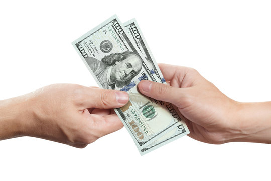 Hands sharing dollars, isolated on white background